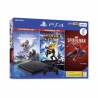 Herná konzola PlayStation 4 Slim v čiernej farbe s tromi hrami. Kapacita úložiska 500 GB. 1x herný ovládač DualShock 4. Súčasťou balenia sú 3 hry: Spiderman, Horizon Zero Dawn, Ratchet and Clank.