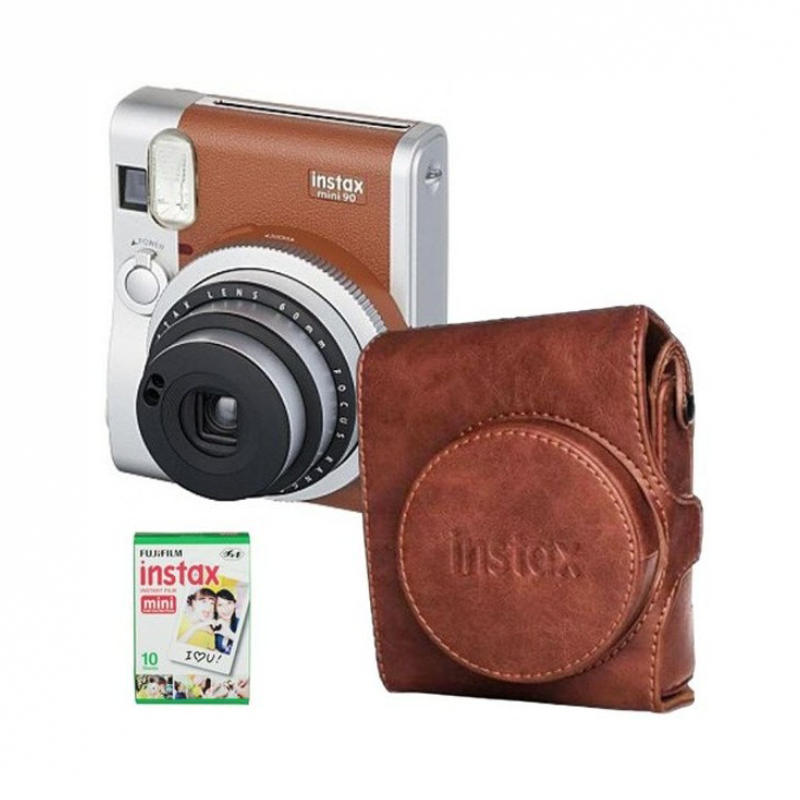 Fotoaparát Fujifilm Instax Mini 90 NEO Classic hnedý + puzdro + 10 ks film
