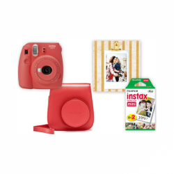 Instax Box Instax Mini 9 Poppy red + púzdro + rámček + film 20ks