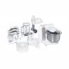 Ide o kuchynský robot Bosch MUM4880, ktorý disponuje kvalitným výkonom 600 W.  Ponúkame ho v bielom prevedení. Miska na miešanie má 3,9 l, ktorá je vhodná pre všetky druhy cesta. K dispozícii máte až 4 rýchlosti. Príslušenstvo: hák na miesenie, miešacie metly, krájač s tromi kotúčmi, mixér (1 l), mlynček na mäso, lis na citrusy, DVD s receptami, stojan na príslušenstvo. Systém miešania je 3D.